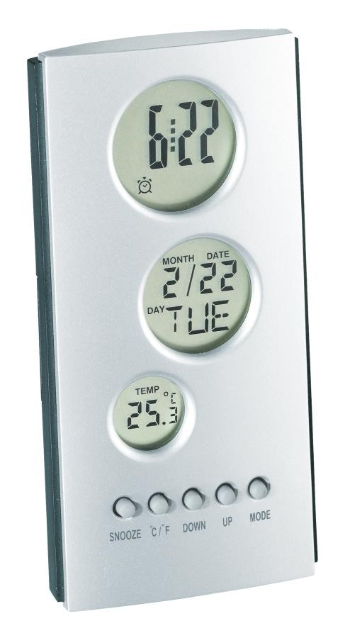 "LCD alarm clock ""Tower"", silver/ grey"