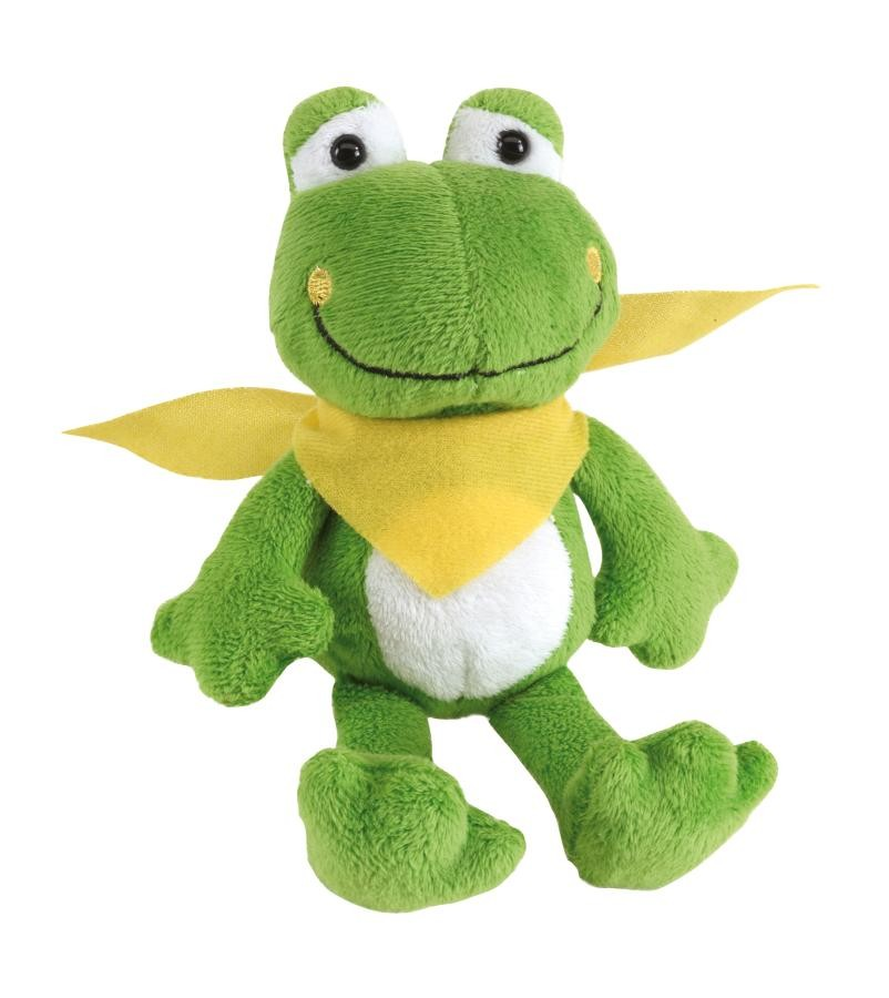 """Plush frog """"Bernd"""" with yellow scarf"""