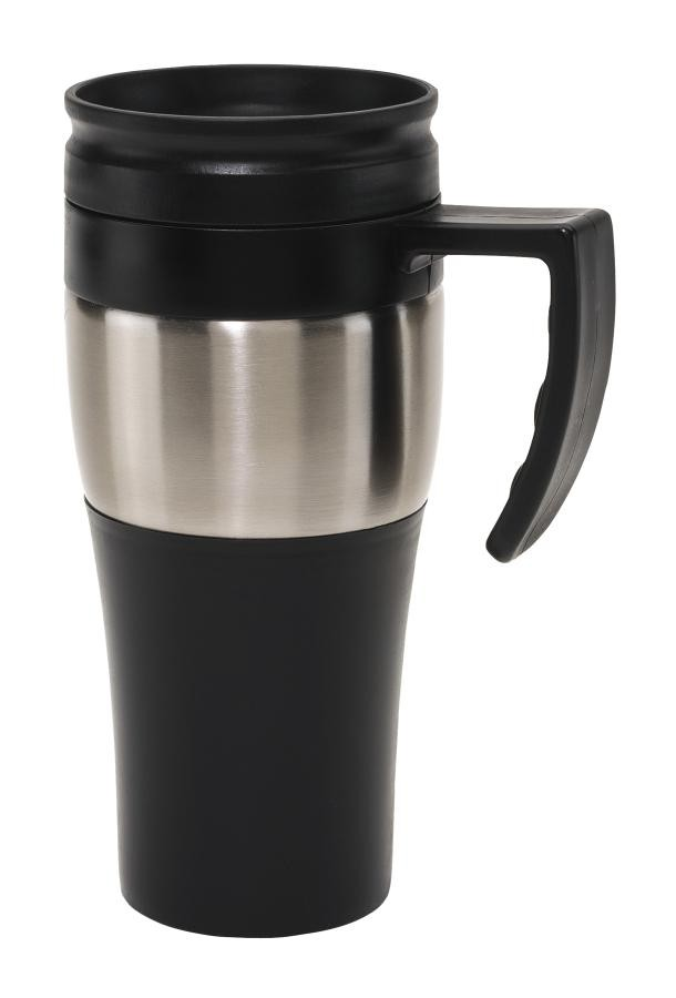 "Stainless steel mug with lid ""Hot drink"""