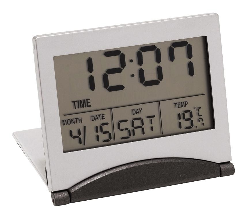 "LCD alarmclock ""Aster"", silver"
