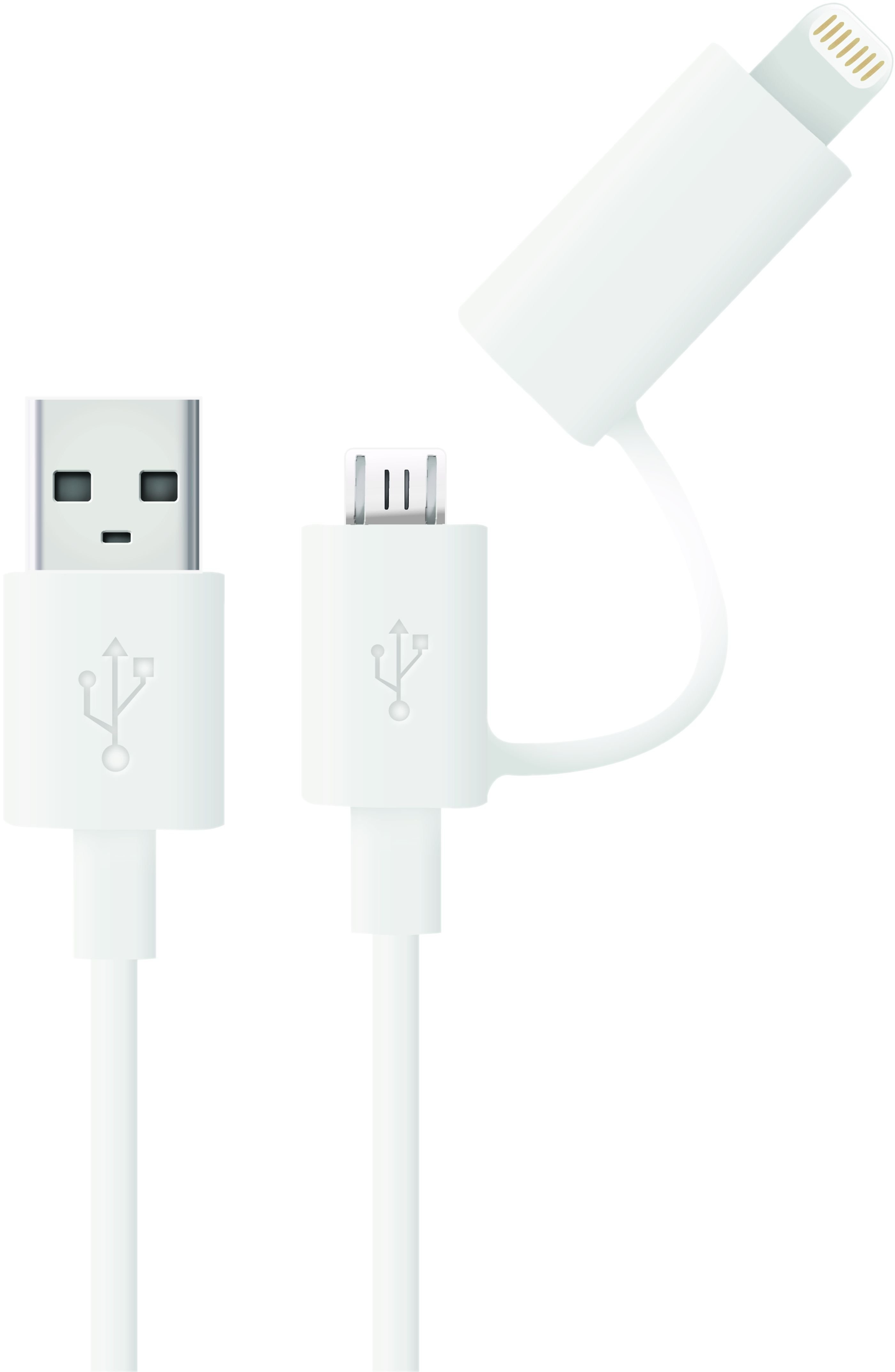 2 In 1 Micro Usb Kabel Met Mfi Iphone 5 6 Adapter Opzetstuk Charger Data Lightning