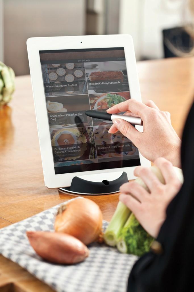 Chef tablet standaard met touchpen, zwart/zilverkleurig, View 14