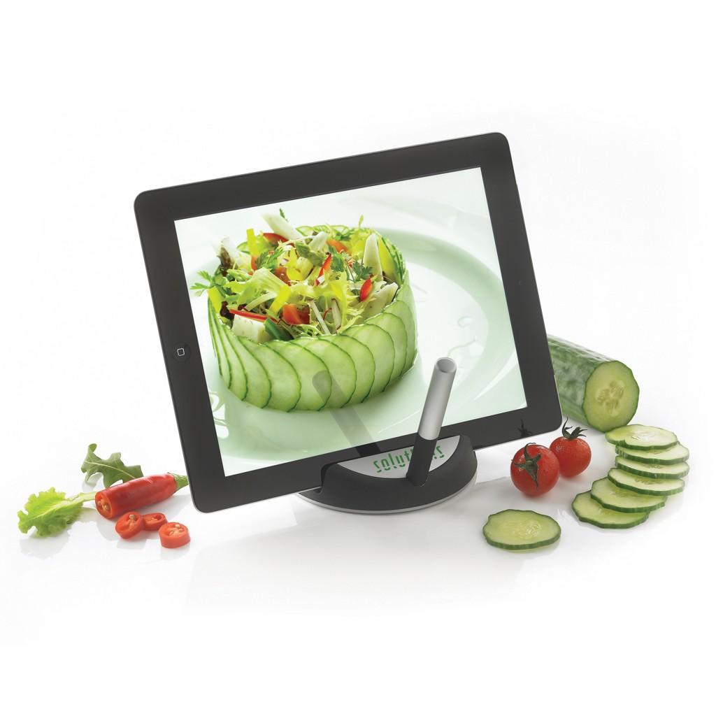 Chef tablet standaard met touchpen, zwart/zilverkleurig, View 12
