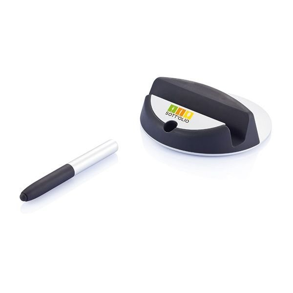 Chef tablet standaard met touchpen, zwart/zilverkleurig, View 3