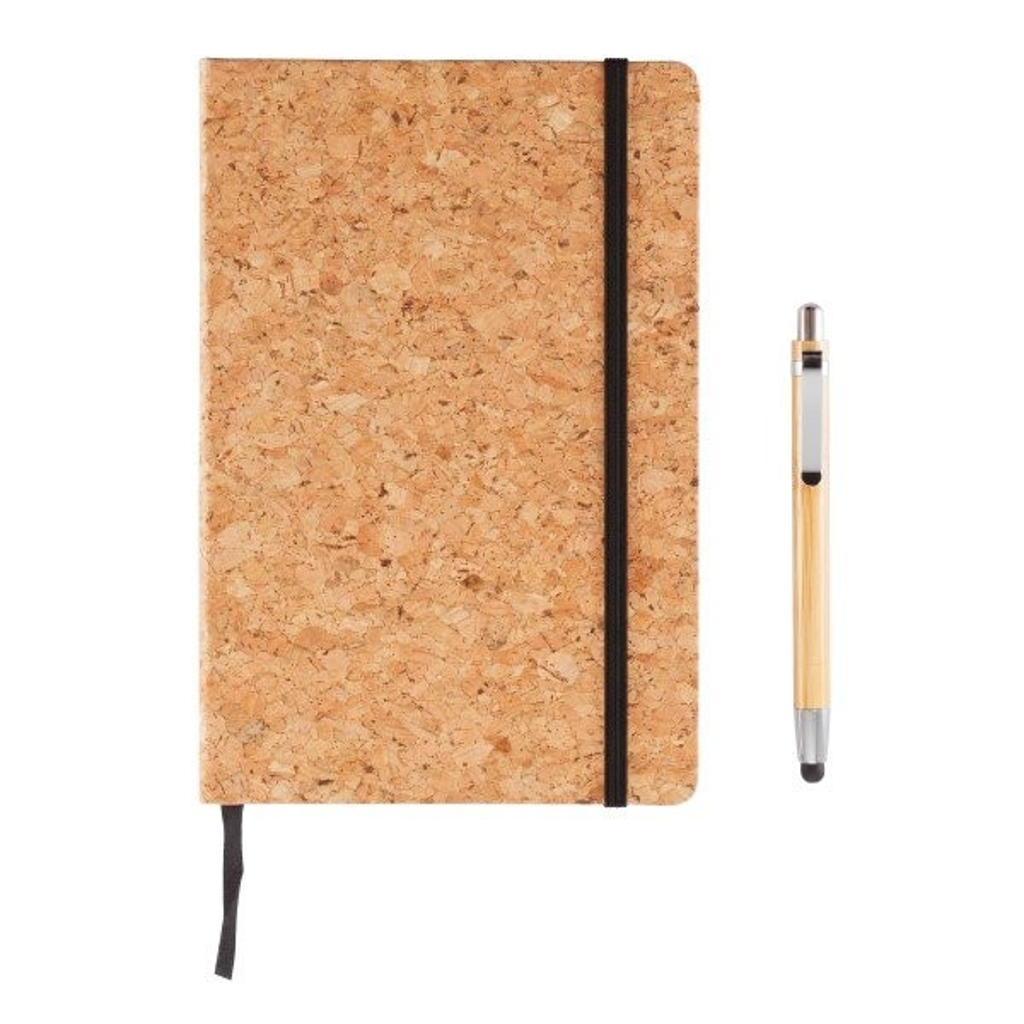 A5 kurken notitieboek incl. touchscreen pen, bruin, View 12