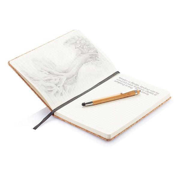 A5 kurken notitieboek incl. touchscreen pen, bruin, View 5