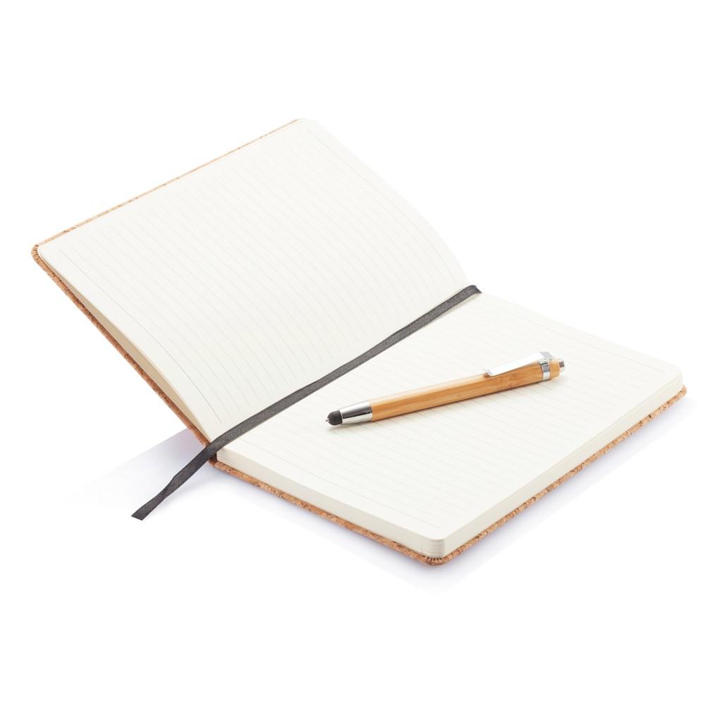 A5 kurken notitieboek incl. touchscreen pen, bruin, View 10