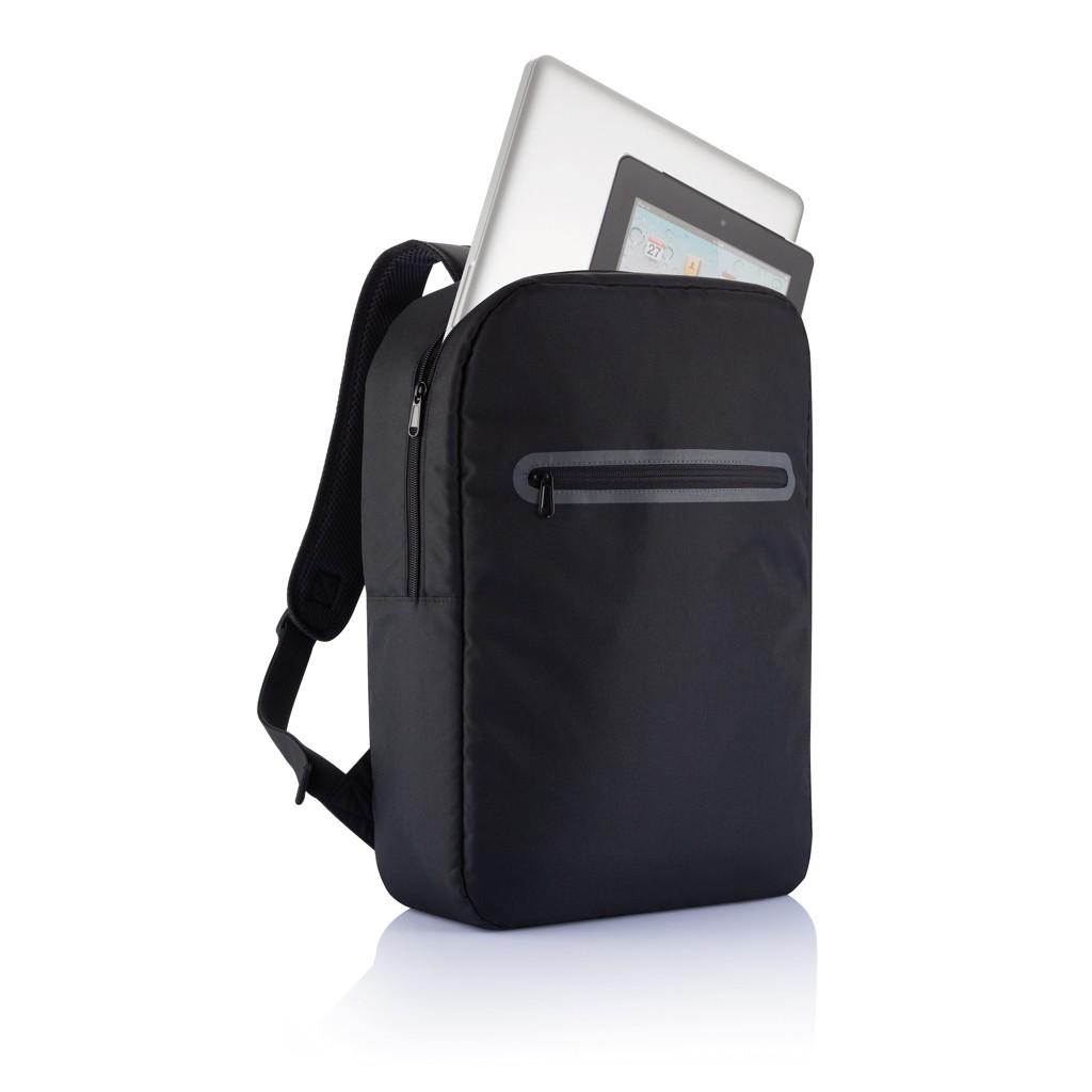 London PVC vrije laptop rugtas, zwart, View 4