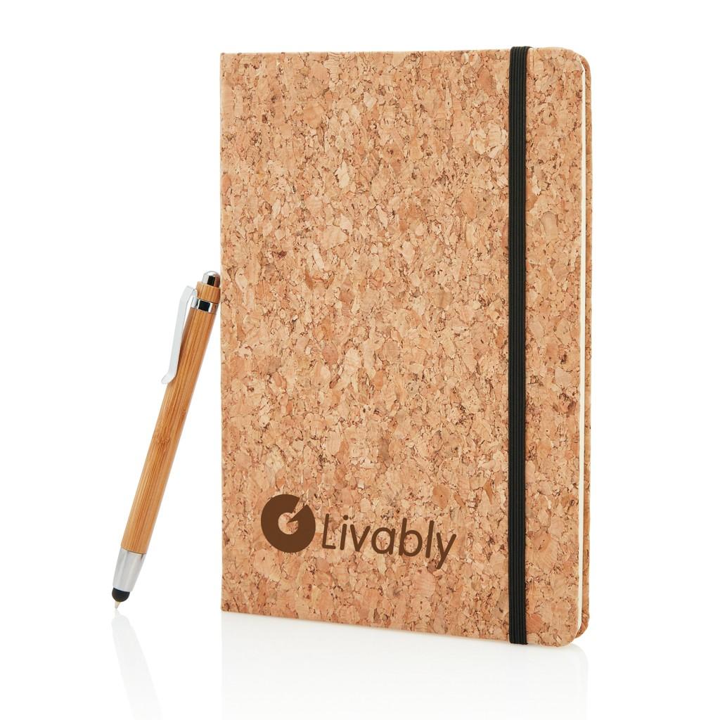 A5 kurken notitieboek incl. touchscreen pen, bruin, View 15