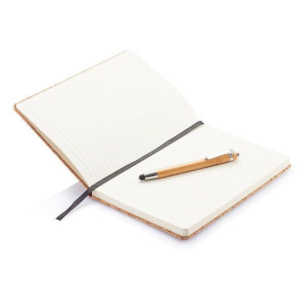 A5 kurken notitieboek incl. touchscreen pen, bruin, View 4