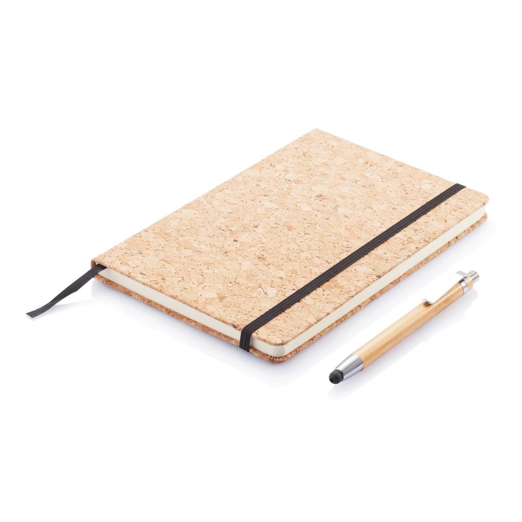 A5 kurken notitieboek incl. touchscreen pen, bruin, View 9