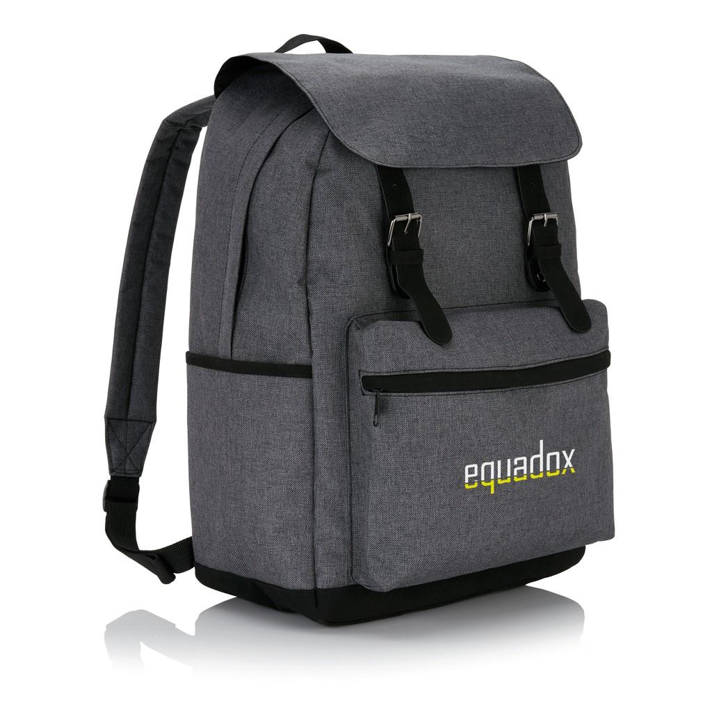 Laptop rugzak met magnetische gesp, grijs/zwart, View 10