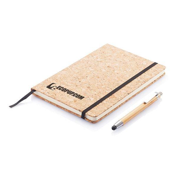 A5 kurken notitieboek incl. touchscreen pen, bruin, View 3