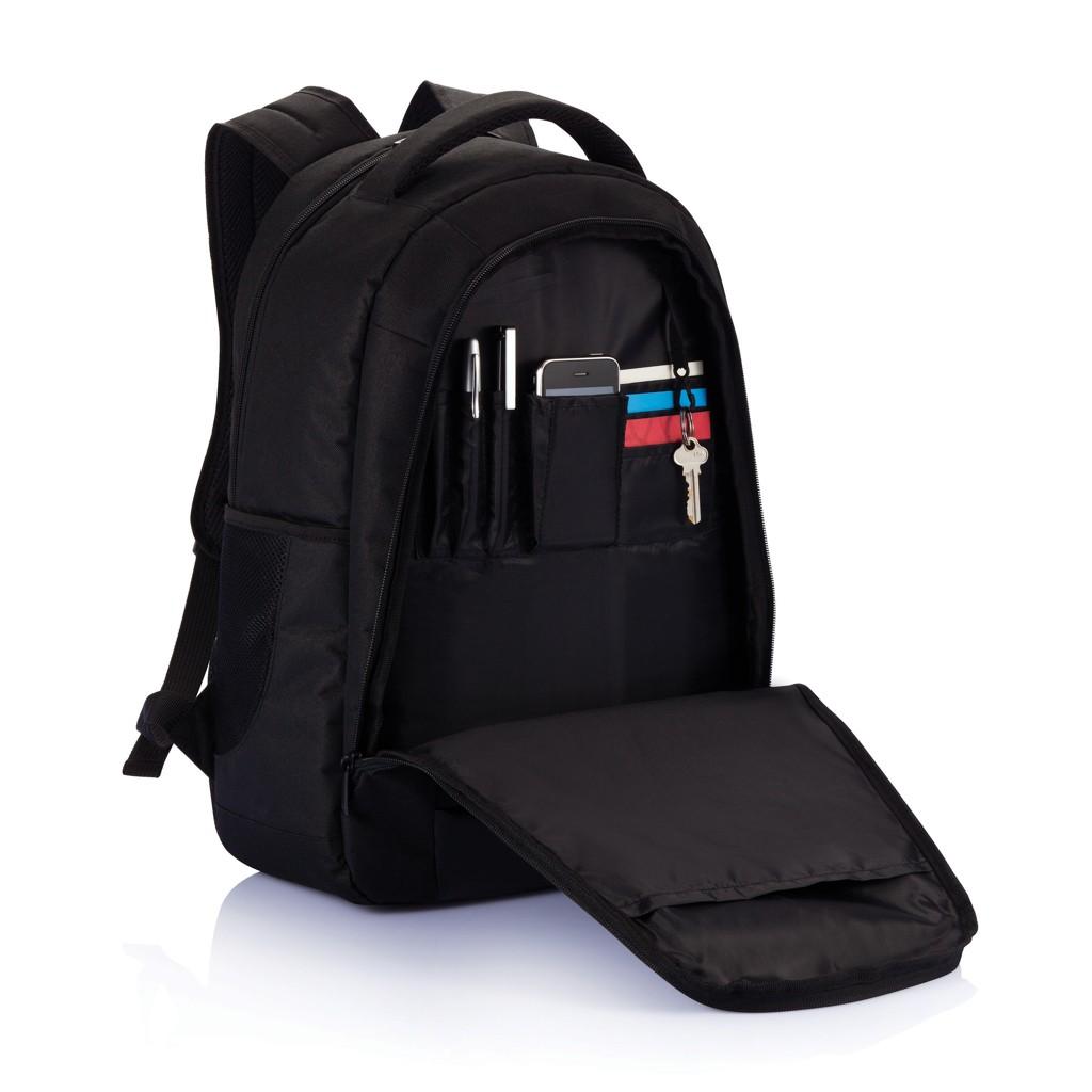 Boardroom PVC vrije laptop rugzak, zwart, View 8