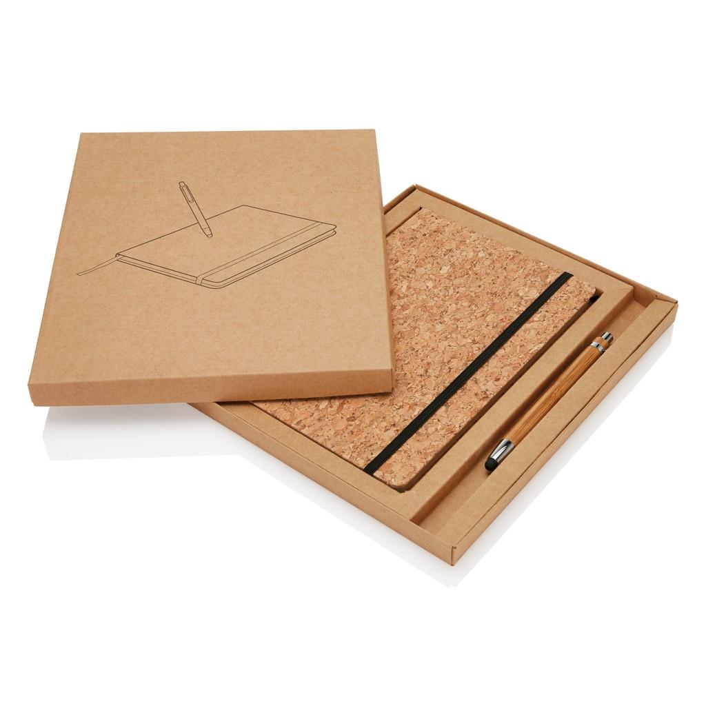 A5 kurken notitieboek incl. touchscreen pen, bruin, View 13