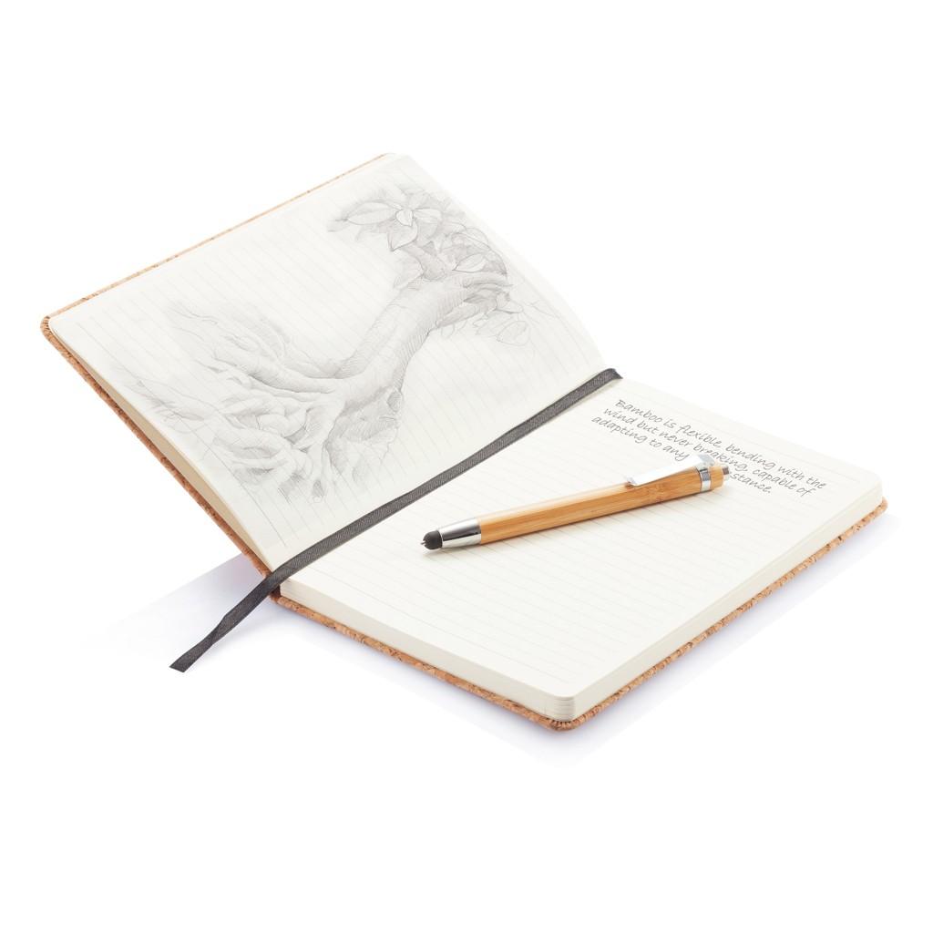 A5 kurken notitieboek incl. touchscreen pen, bruin, View 11