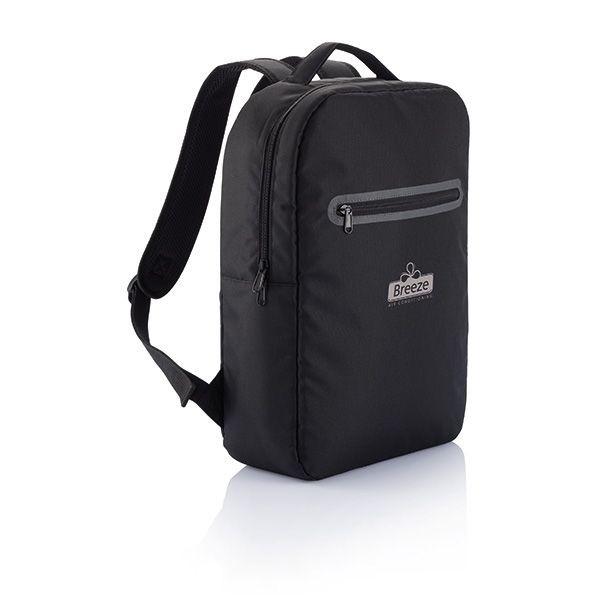 London PVC vrije laptop rugtas, zwart