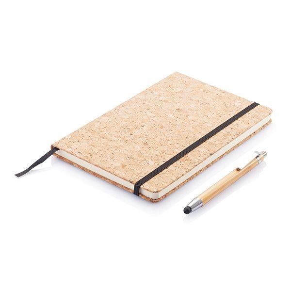 A5 kurken notitieboek incl. touchscreen pen, bruin, View 2