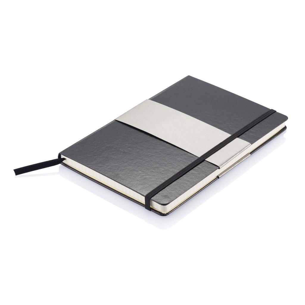 A5 rechthoekig hardcover notitieboek, zwart, View 7