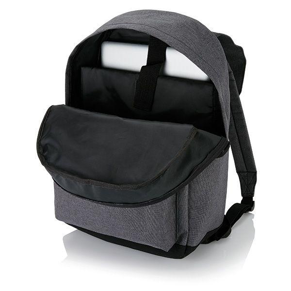 Laptop rugzak met magnetische gesp, grijs/zwart, View 5