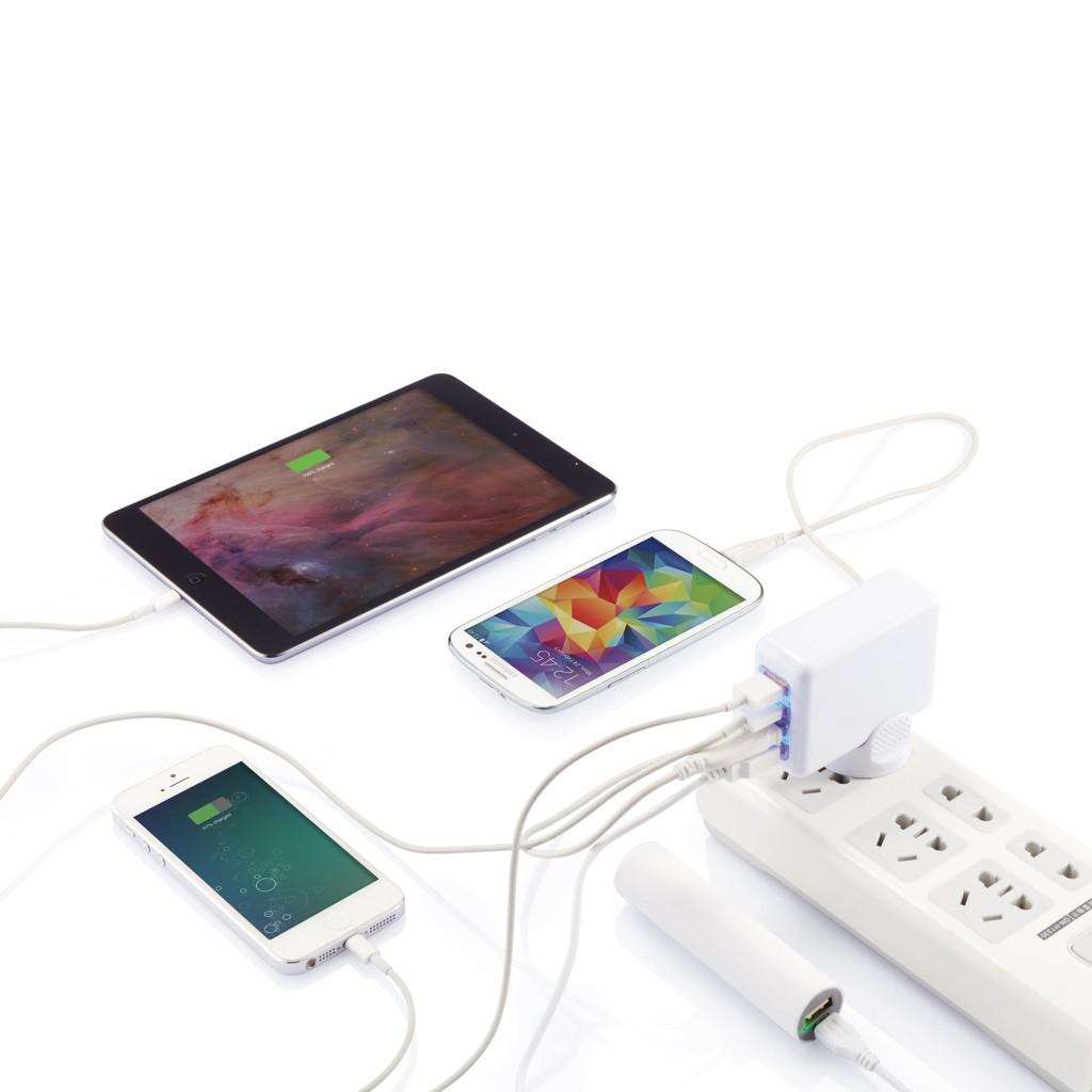 Reisstekker met 4 USB poorten, wit, View 8