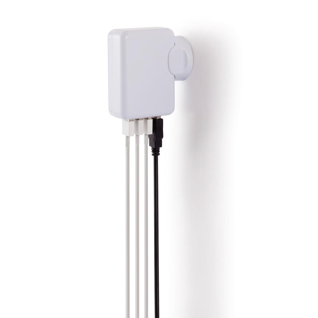 Reisstekker met 4 USB poorten, wit, View 9