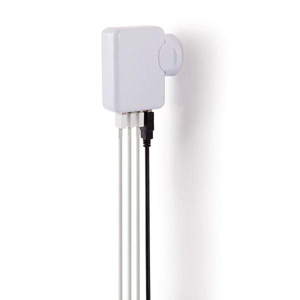 Reisstekker met 4 USB poorten, wit, View 4