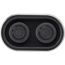 Powerbank met twee draadloze oortelefoons - zwart