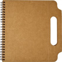 Kartonnen notitieboek (A5) met handgreep en ringband - bruin