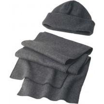 Muts en sjaal van fleece 'Salzburg' - grijs