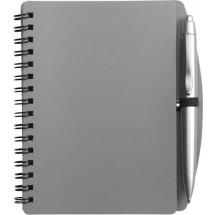 Notitieboekje (A6) incl. plastic balpen 'Spektrum' - grijs