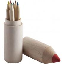 Kleurpotloden in houten houder 'Hugo' - bruin