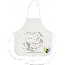 Polyester kinderschort om zelf in te kleuren - wit