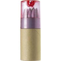 Koker met 12 potloden - rood
