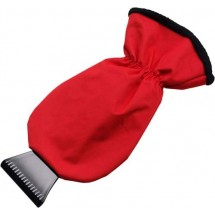 Zwarte plastic ijskrabber 'Maxi' - rood
