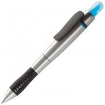Highlighter- en Balpen - zilver / blauw