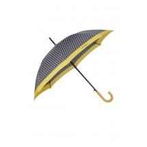Samsonite R Pattern Stick Umbrella -Zwart/Wit Dots/Old Geel