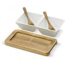 Set van 2 schaaltjes op houten onderbord - Hout