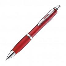 Pen met zilveren metalen clip - burgundy
