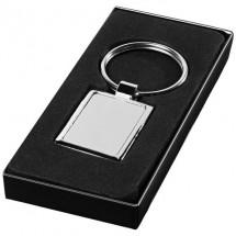Vierkante sluetelhanger - zilver