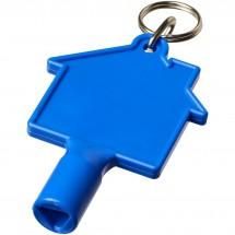 Maximilian huisvormige meterbox-sleutel met sleutelhanger - blauw