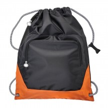 Tas met trekkoord REFLECTS-SUNDSVALL BLACK NEON ORANGE