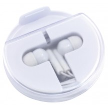 In Ear headphones w/phone stand, white