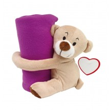 "Plush bear ""Rene"" with blanket, purple"