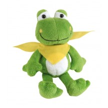 "Plush frog ""Bernd"" with yellow scarf"