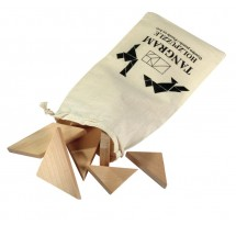 "Wooden puzzle ""Tangram,"" with cotton bag"
