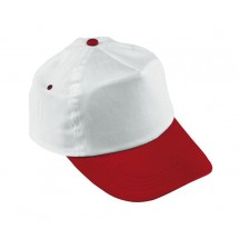 "BASEBALL-CAP,COTTON,WHITE/RED ""Athlete"""