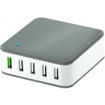 5 port-USB Quickcharger - grijs