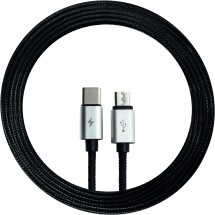 2-in-1 micro / Type C cable textiel - zwart