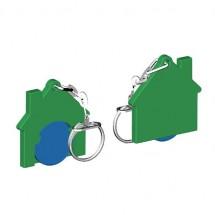 Winkelwagenmuntje 1-Euro in houder huis - blauw/groen